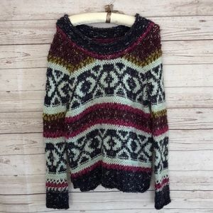 Free People Chunky Cable Sweater Colorful